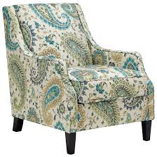 Aqua Accent Chair Transitional Accent Chair In Paisley Fabric With Reversible Seat