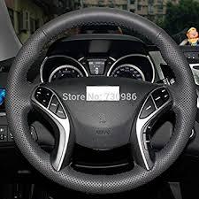 2013 hyundai elantra gt tire size amazon com sewing black genuine leather steering wheel cover