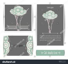 Templates Of Invitation Cards Vector Set Invitation Cards Doodle Tree Stock Vector 377743849
