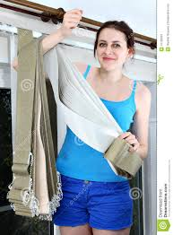 holding fabric for vertical blind slats stock photo image