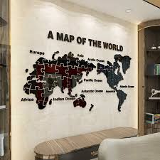 Act world map puzzles decor New DIY Acrylic Wall Sticker Map of