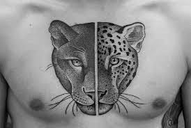 dangerous scary dotwork panther and tiger faces design for