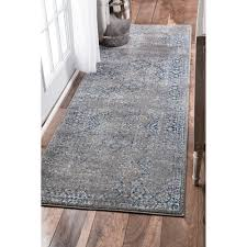 nuloom traditional distressed grey runner rug 2 u00278 x 8