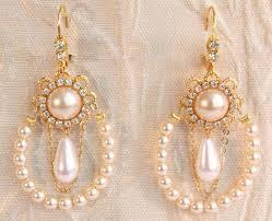 rhinestone chandelier earrings bridal pearl chandelier earrings row of ivory pearls bridal