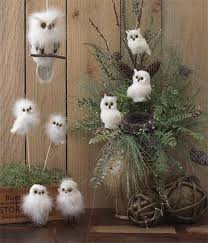 owl decor raz 6 white fuzzy owl on a perch hanging