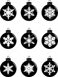 set of silhouettes christmas decorations balls isolated on white