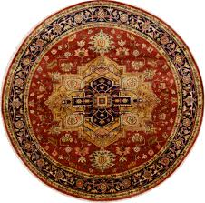 Indian Area Rugs Indian Serapi Beige Round 7 To 8 Ft Wool Carpet 15763