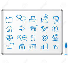 sketch icons on white board royalty free cliparts vectors and
