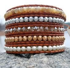 swarovski crystal leather bracelet images Swarovski leather wrap bracelets mother of pearls onsra jpg