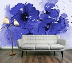 wallpaper wednesday indigo poppy mural by digetexhome wall this week s wallpaper wednesday offering is the amazing indigo poppies wall mural from digetexhome love