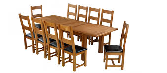 barham oak 180 250 cm extending dining table and 10 chairs