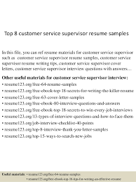 sample resume for customer service supervisor gallery creawizard com