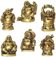 laughing buddha statues 6 figurines set home kitchen