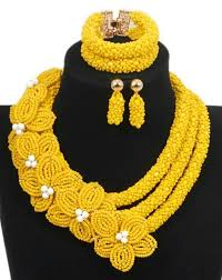 yellow necklace set images Mellow yellow flower necklace set african nigerian wedding jpg