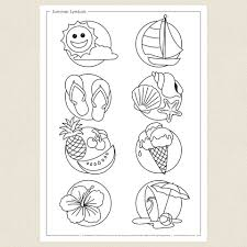 summer symbols colouring sheet cleverpatch