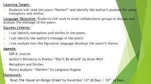 learning target 1 students will read the poem u201charlem u201d and
