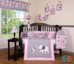Pink And Grey Crib Bedding Sets Boutique Pink Gray Elephant 13pcs Crib Bedding Sets Baby Bedding