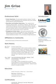 Housekeeping Resume Templates Housekeeper Resume Samples Visualcv Resume Samples Database