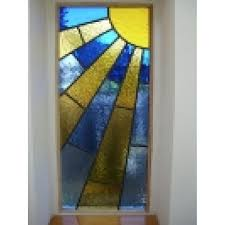 stained glass internal doors 044 handmade stained glass art decco the sunrise yellow bliue