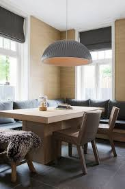 oversized pendant in gray for lovely banquette dining