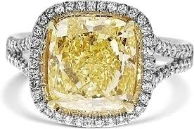 fancy yellow diamond engagement rings 4 52ct cushion cut fancy yellow diamond engagement ring ydcr5381