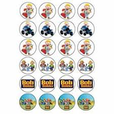 bob builder style 24 edible wafer paper fairy cup cake toppers