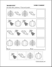 worksheet thanksgiving follow the pattern preschool primary