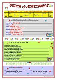 21 free esl order of adjectives worksheets