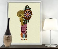Benin Africa Map by Benin Map Art Print Wall Decor Benin Poster African Art