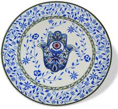 pesach seder plate pesach blue hamsa ceramic seder plate and matzah tray set