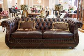 Leather Sofa Store Classic Leather Sofa In A Furniture Store Stock Photo Picture And