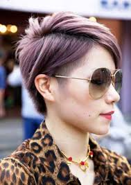 female short hair undercut undercut with different shades of pink