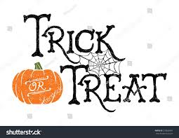 trick treat vector handdrawn halloween greeting stock vector