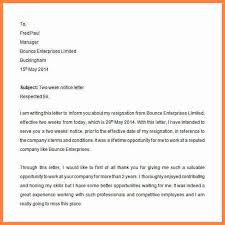 2 week resignation letter two weeks notice letter resignation