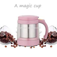 novelty pink color electric heated coffee mug self stirring cup