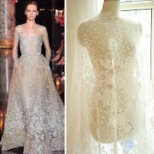 wedding dress material ivory white black luxury sequins embroidery white bud silk