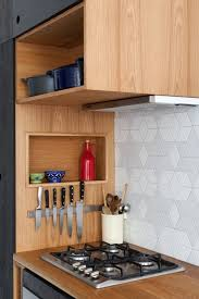kitchen of the week a seventies overhaul by hearth studio custom made by alex rains furniture of melbourne a backsplash of white geometric tile from academy tiles blends into the rough plaster wall