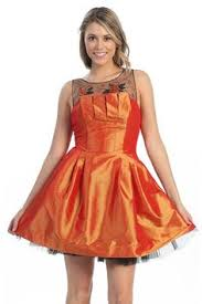 Formal Dresses With Pockets Orange Tea Length Formal Dress Strapless Rhinestone Bodice Chiffon