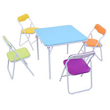 Kitchen Folding Table And Chairs - amazon com costzon 5 piece kids folding table and chair set