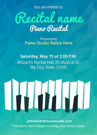 customize your own recital invitations 5 templates free music