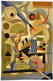 Modern Wool Rug Kandinsky 5ft X 7ft Composition Wool Rug Wall Tapestry