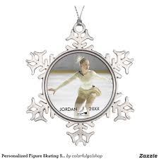 personalized figure skating skater name christmas snowflake pewter