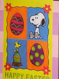 happy easter snoopy woodstock peanuts garden flag 12