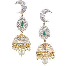 jhumkas earrings swasti jewels women s american diamond cz zircon fashion