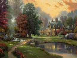 landscape kinkade painting cottage river ducks bridge trees