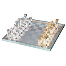 tommaso barbi modernist lucite brass and steel chess set