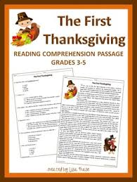 the thanksgiving reading comprehension passage and questions