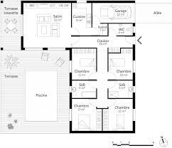 plan maison 4 chambre plan maison en l avec 4 chambres ooreka