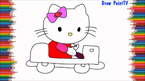draw kitty driving car easy coloring video