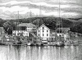 farsund dock scene pen and ink drawing by janet king